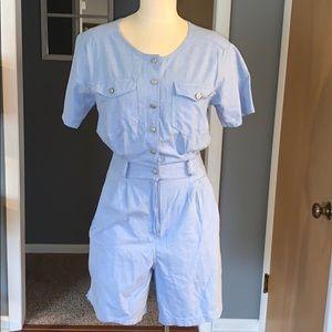 90's light blue romper shorts woman's medium